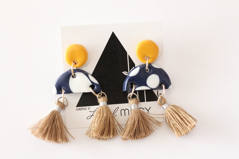 Mustard and Navy Polkadot Half Dangles with Tan Tassels image 0