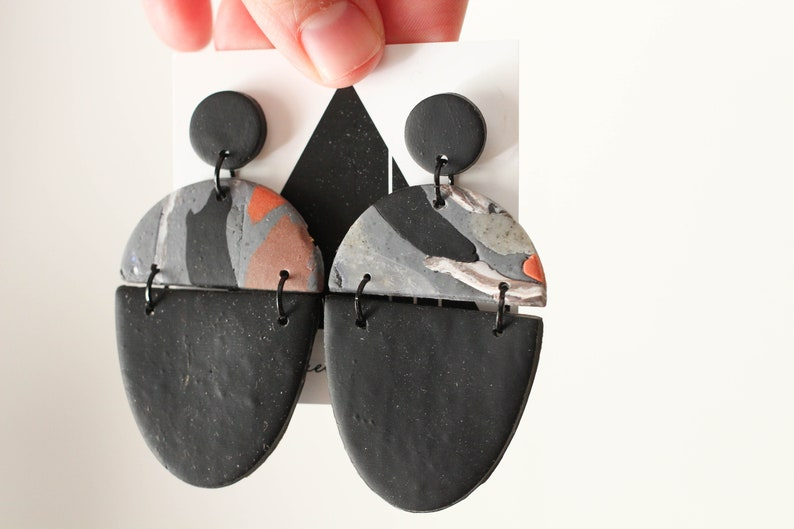 Black and Slate Marble Dangles  Handmade Polymer Clay Chic image 0