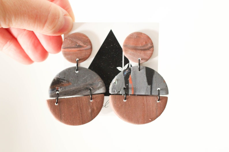 Rusty Slate Gray Full Circle Dangles with Black Accents  image 0
