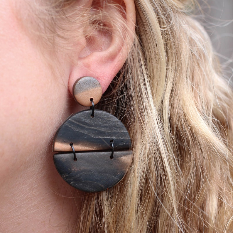 Black and Copper Full Circle Dangles with Black Accents  image 0
