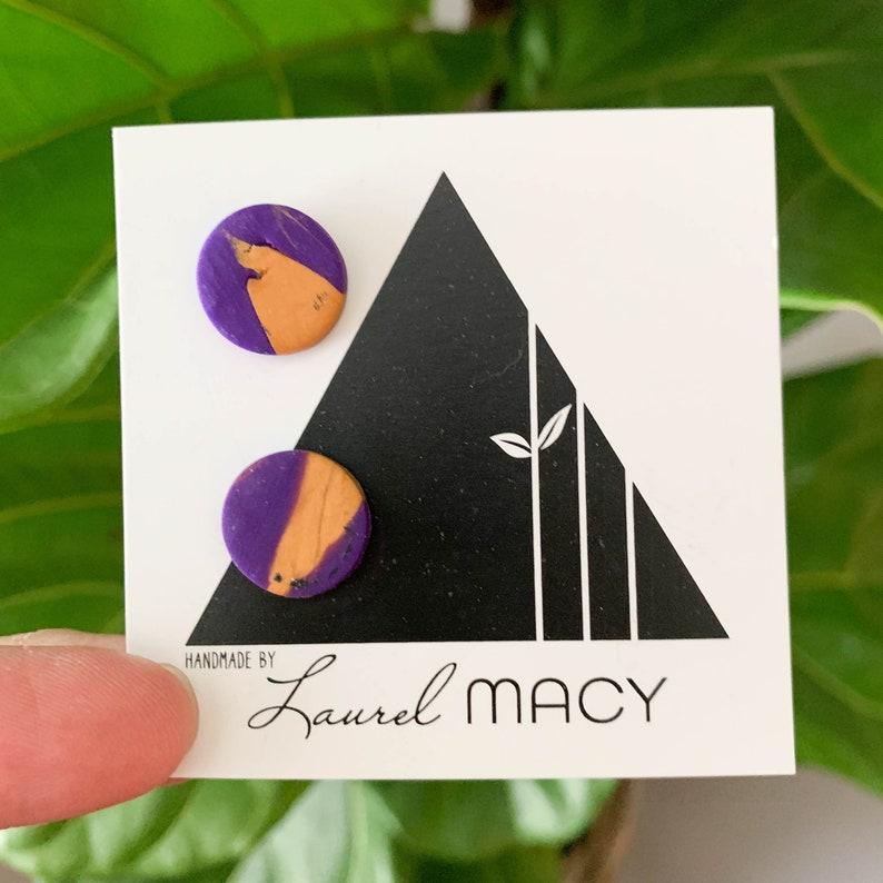One of a Kind Laurel Macy Classic Studs Earrings 0444 Purple image 0