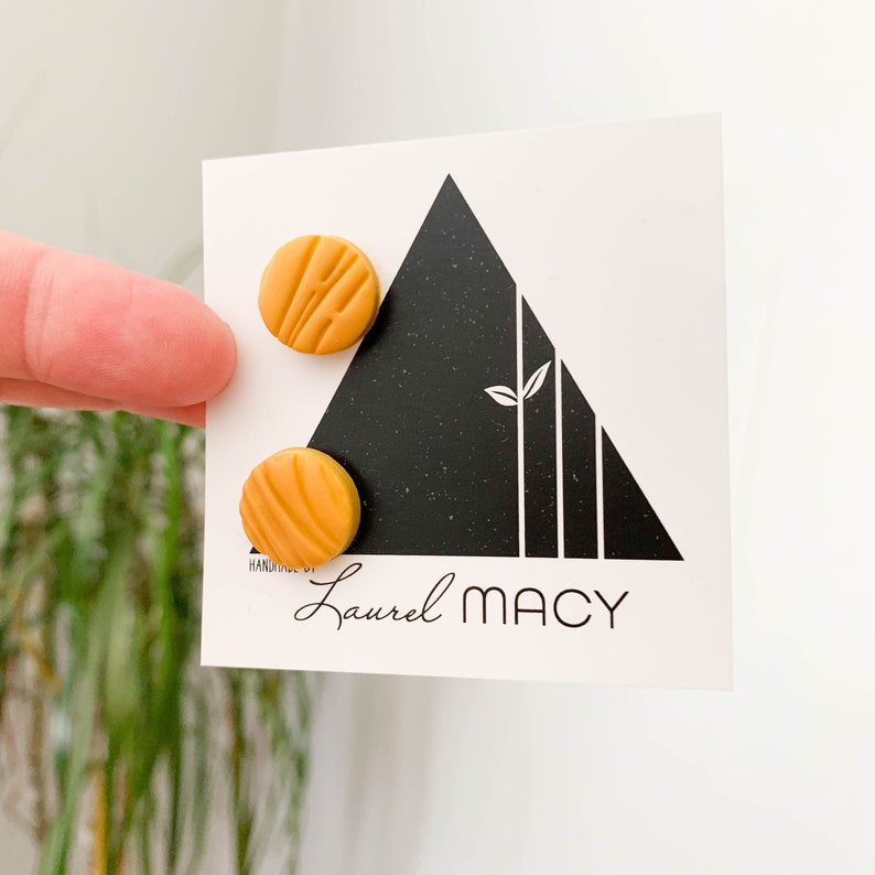 Matte Mustard Textured One of a kind Stud 0416 Fall Handmade image 0