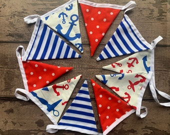 Handmade Garland Double Sided Cotton Bunting Navy Red Stars Spots