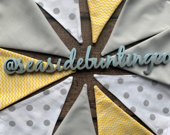 Double-sided Cotton Bunting HandmadeNursery Yellow Chevron Grey Spot