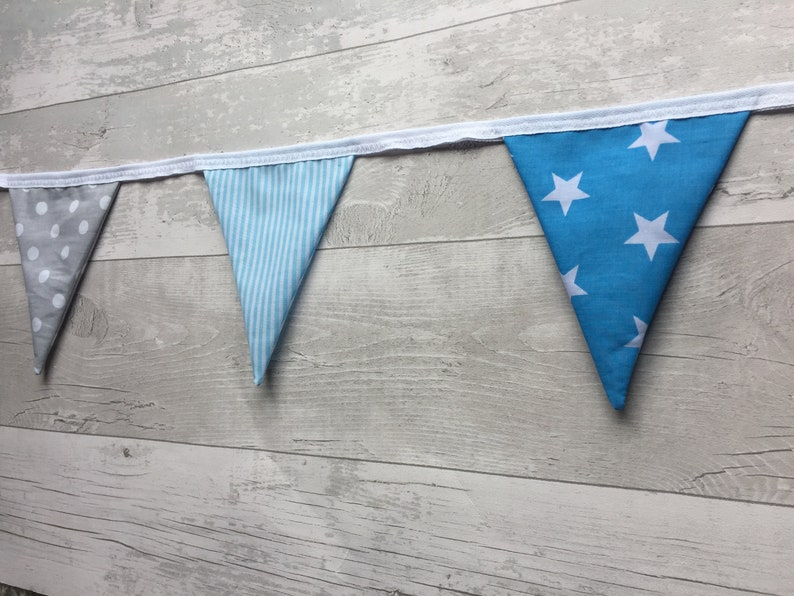 Handmade Double Sided Garland Cotton Bunting Baby Blue and Grey star Pom Poms