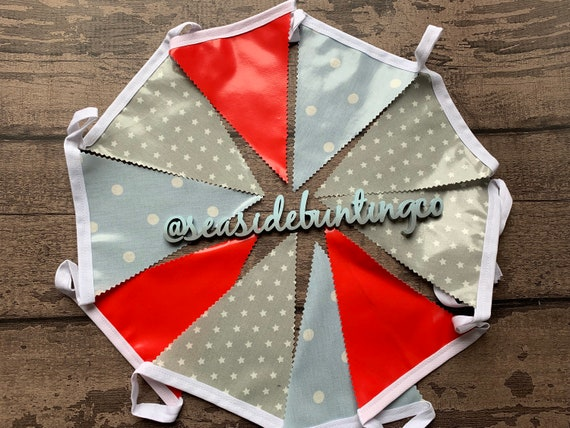 Handmade Outdoor Waterproof Bunting Seaside Red Blue Spot Grey Star Single or Double Sided