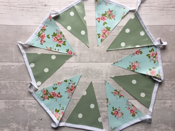 Handmade Outdoor Bunting WaterproofSage Green Spot White