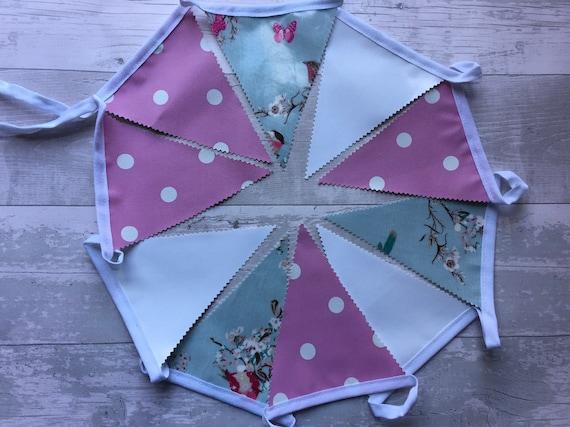 Outdoor Bunting Decor Waterproof Oilcloth Handmade Nursery Baby Pink Dot /& Star