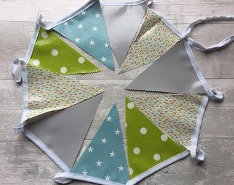 Handmade Outdoor Waterproof Bunting | Spring Easter Grey Lime Teal Star