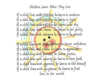 Child SayingPoem About Parenting Vintage Children Learn as They Live Wooden Hanging Sign with Artwork and Beautiful Reminder of Childhood
