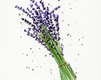 Lavender Flowers Watercolor Notecards - No.  1000   Lavender