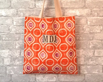 Canvas Monogram Tote, Personalized Womens Tote Bag, Canvas Travel Tote, Orange Canvas Tote, Canvas Tote with Monogram, Canvas Tote with Name