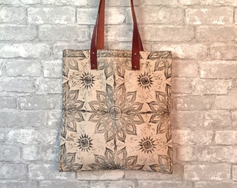 Canvas Tote with Leather Handles, Leather Handle Tote Bag, Canvas Tote for Her, Canvas Tote Travel, Canvas Boho Bag, Stylish Canvas Tote