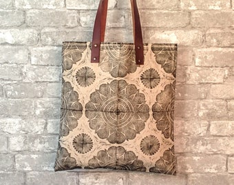 Leather Handle Tote Bag, Canvas Tote Travel, Canvas Tote Bag with Leather Handles, Canvas Tote for Her, Mandala Gift for Her