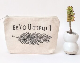 Beyoutiful, Personalized Makeup Bag, Bridesmaid Cosmetic Bag, Graduation Gift for Her, Bridal Party Gift, Custom Zipper Pouch, Feather Print