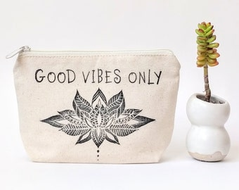Good Vibes Only, Lotus Flower, Personalized Makeup Bag, Bridesmaid Cosmetic Bag, Best Friend Gift Idea, Boho Wedding, Zipper Pouch