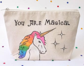 Unicorn Gift for Women, Rainbow Unicorn, You are Magical, Personalized Makeup Bag, Zipper Pouch, Best Friend Gift, Organic Cotton, Birthday