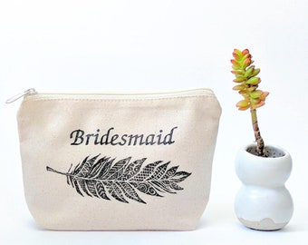 Boho Bridesmaid Gift, Personalized Makeup Bag, Bridesmaid Cosmetic Bag, Make Up Bag for Wedding Party, Toiletry Bag for Bridal Party