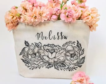 Organic Cosmetic Bag, Personalized Makeup Bag Large, Bridesmaid Gift, Graduation Gift for Her, Bridal Party Gift, Custom Pouch, Boho Wedding