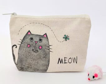 Personalized Cat Lover Gift, Meow, Canvas Makeup Bag, Pencil Case, Cosmetic Bag, Zipper Pouch, Hand Printed, Organic Cotton, Fair Trade