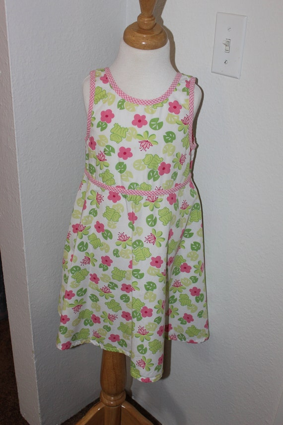 Vintage Gymboree Swing Dress Frogs & Lilly Pads Si