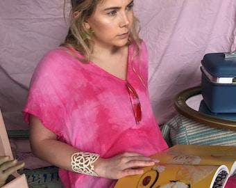 Lightweight organic cotton summer dress gauze in hot pink from Simmer Clothing. Beachwear, Cruisewear, Summer Dress, organic shibori,