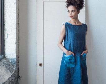 Cotton Linen apron Dress in Indigo with handpainted pockets. Cruisewear, Beachwear, Mod dress, organic summer dress, japanese fashion