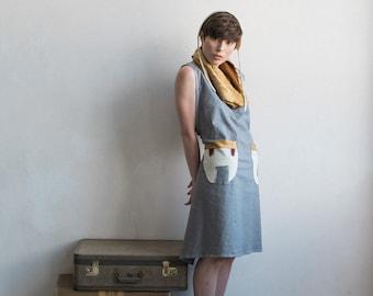 Organic Cotton Linen handdyed  apron Dress in Grey with handpainted pockets. Cruisewear, Beachwear, linen summer dress
