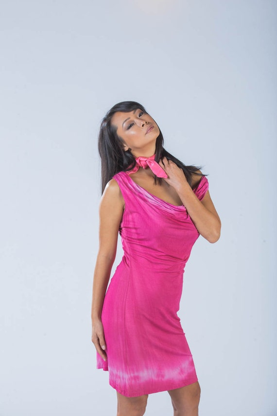 cb79c6ee0c21 Bamboo cowl dress in hot pink from Simmer Clothing. Perfect