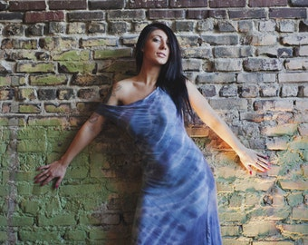 Bamboo maxi sexy tight dress indigo shibori assymetrical hem from Simmer Clothing great for beach and travel!