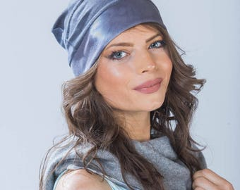Slouchy indigo bamboo beanie shibori hat. Pleated in hand dyed navy. Great everyday beanie from Simmer Clothing.