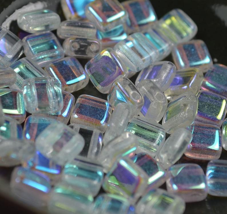 25 pieces Czechmates Tiles 6mm Crystal AB
