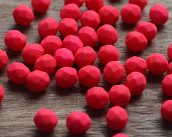 25 pc Very nice Czech firepolished, faceted glass beads 6mm Neon red