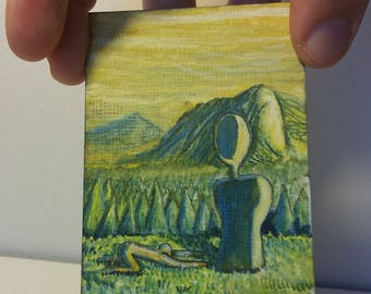 Pine Worship, ACEO ATC Original Tiny Painting by Dakota Jernigan