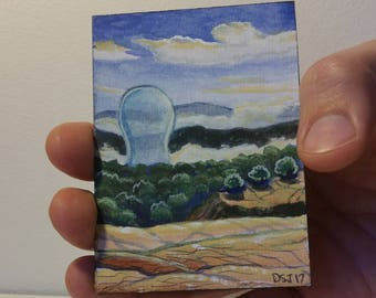 Irrigation Bubble, ACEO ATC Original Tiny Painting by Dakota Jernigan