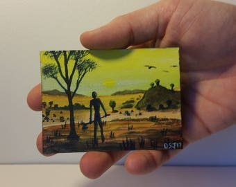 Axe, ACEO ATC Original Tiny Painting by Dakota Jernigan