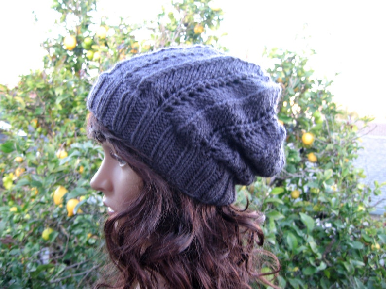 cfc930418b6 Lacey knit charcoal grey loose fit beanie grey hippie hat