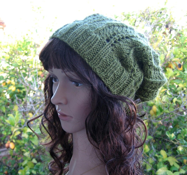 8b11212f705 Lacey knit sage green loose fit beanie green hippie hat boho