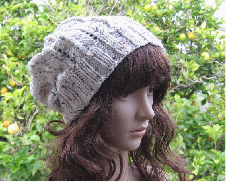 4d8fab20a4b Lacey knit oatmeal color loose fit beanie earthtone hippie