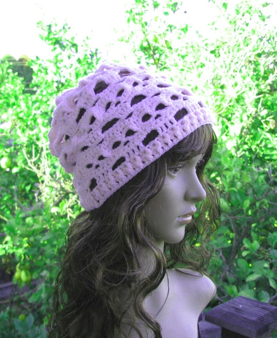 900ad3ab8e6 Crochet pale pink spooky skull beanie open weave loose fit