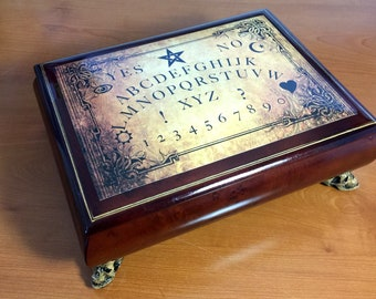 Ouija board box, spirit box, spooky jewelry storage