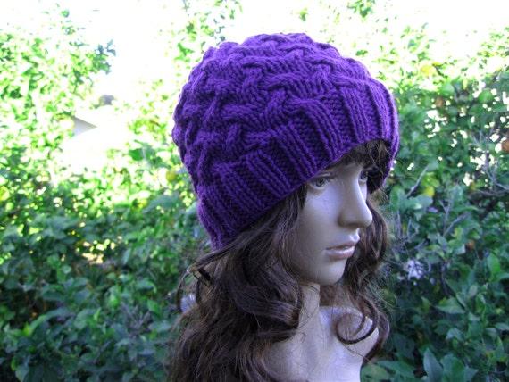 6a9cb90674d Cable knit purple color loose fit beanie purple hippie hat