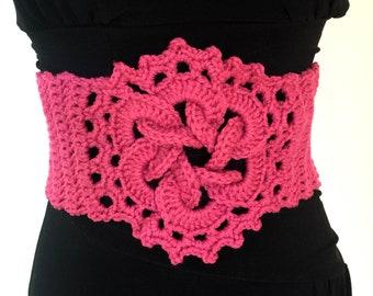 Crochet Pink belt, unique bohemian accessory, crochet lace up belt