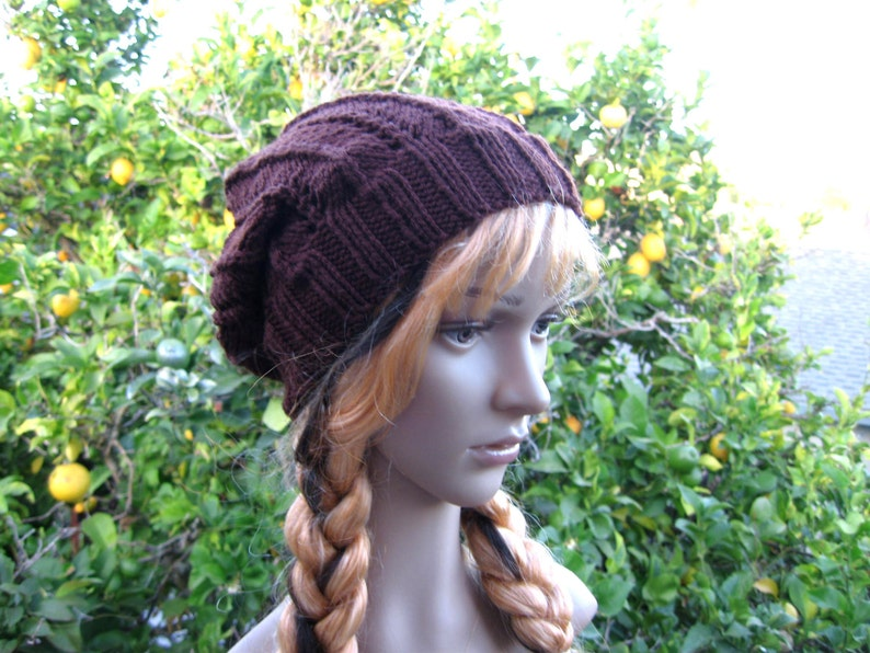 d7b0c4bba15 Lacey knit chocolate brown loose fit beanie brown hippie hat
