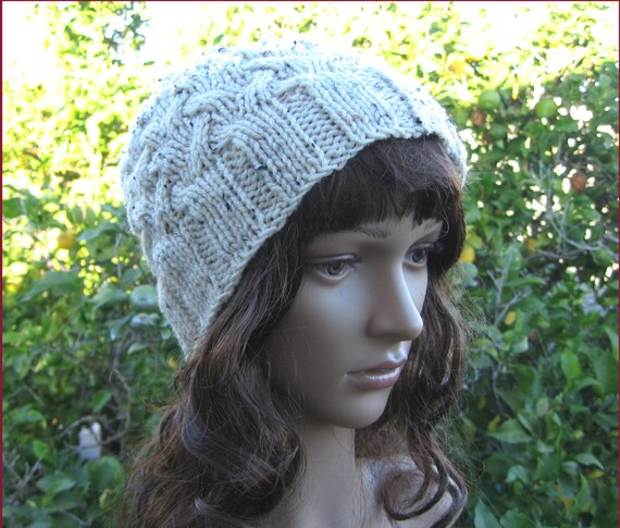 4fc65f20a37 Cable knit oatmeal color loose fit beanie oatmeal hippie hat