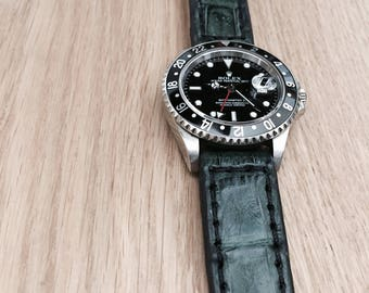 Handmade Forest Green Alligator Crocodile Leather W/ Cow Leather Lining Watch Band / Strap