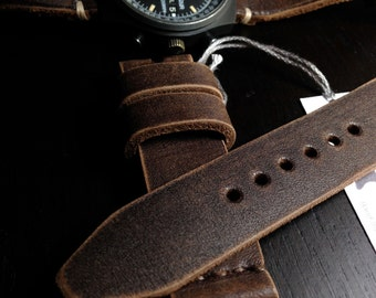 20mm Handmade Dk Brown Genuine Leather Watch Band / Strap