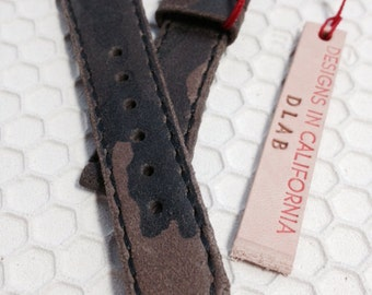 20mm Handmade Double-Layered Camouflage Military Genuine Leather Vintage Watch Band / strap for Rolex