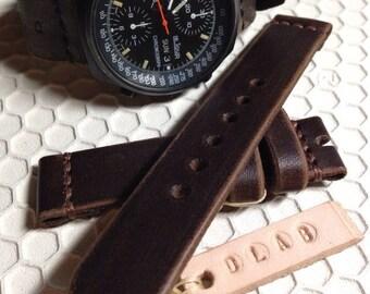 18mm Dark brown Handmade Genuine Leather vintage Watch Band / strap with stitch