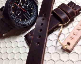 20mm Dark brown Handmade Genuine Leather vintage Watch Band / strap with stitch